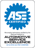 ASE certified (automotive society of engineers certified mechanics)