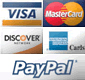 We accept Master Card, VISA, American Express, and Discover cards, as well as PayPal.com